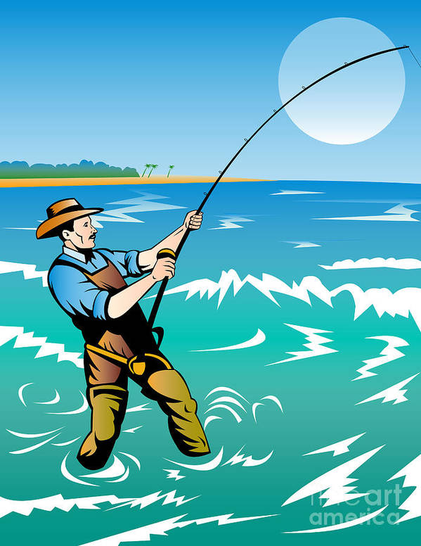 Fisherman Poster featuring the digital art Fisherman Surf Casting by Aloysius Patrimonio