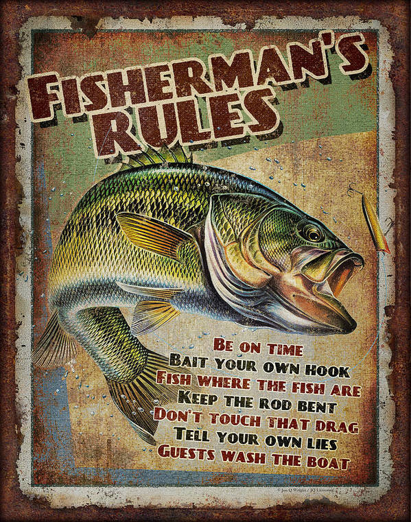 Fish Poster featuring the painting Fisherman's Rules by JQ Licensing