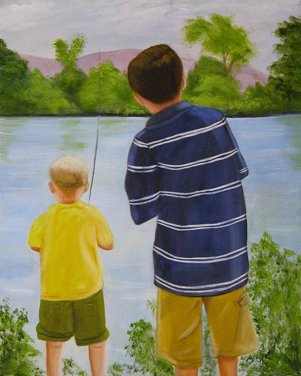 Children Poster featuring the painting Fishin by Joni McPherson