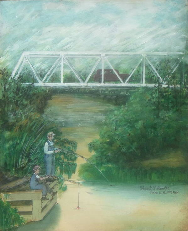 Pump House Fishing Bridge White Oak Creek Sardinia Ohio Poster featuring the painting Fishing At The Pump House On White Oak Creek by Frank Hunter