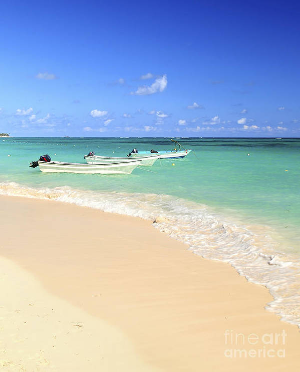 Beach Poster featuring the photograph Fishing Boats In Caribbean Sea by Elena Elisseeva