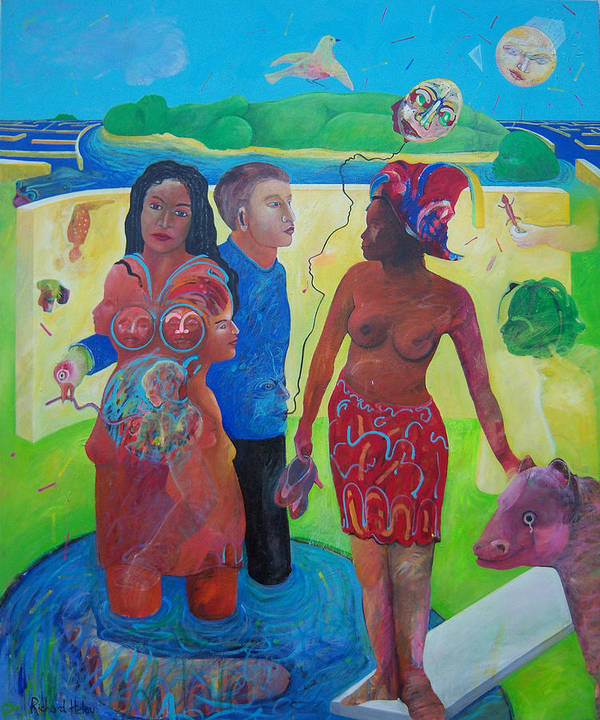Human Relationships Poster featuring the painting Fishing For Chance Answers by Richard Heley