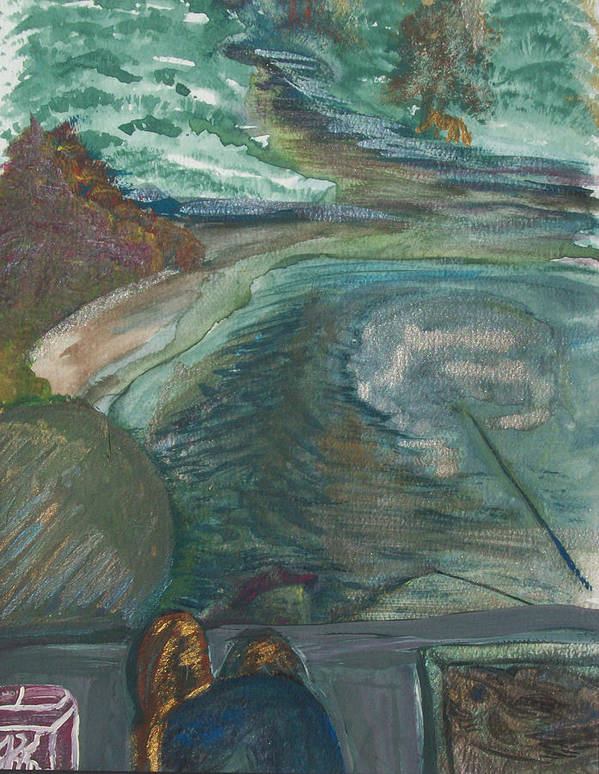 Fishing Poster featuring the painting Fishing by Jennifer K Machado
