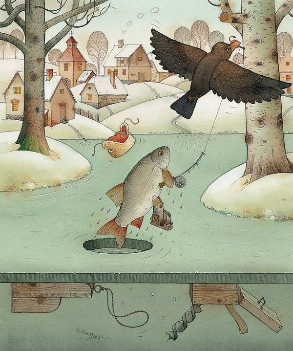 Landscape Winter Fishing Crow Poster featuring the painting Fishing by Kestutis Kasparavicius