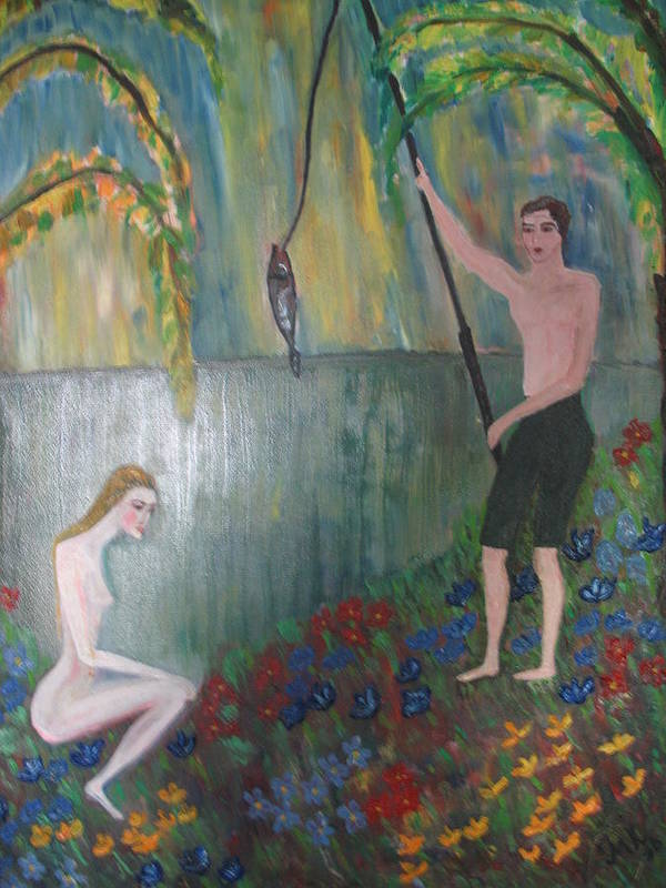Maria Kolucheva Poster featuring the painting Fishing by Maria Kolucheva