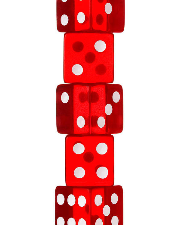 Dice Poster featuring the photograph Five Dice Stack by Richard Thomas