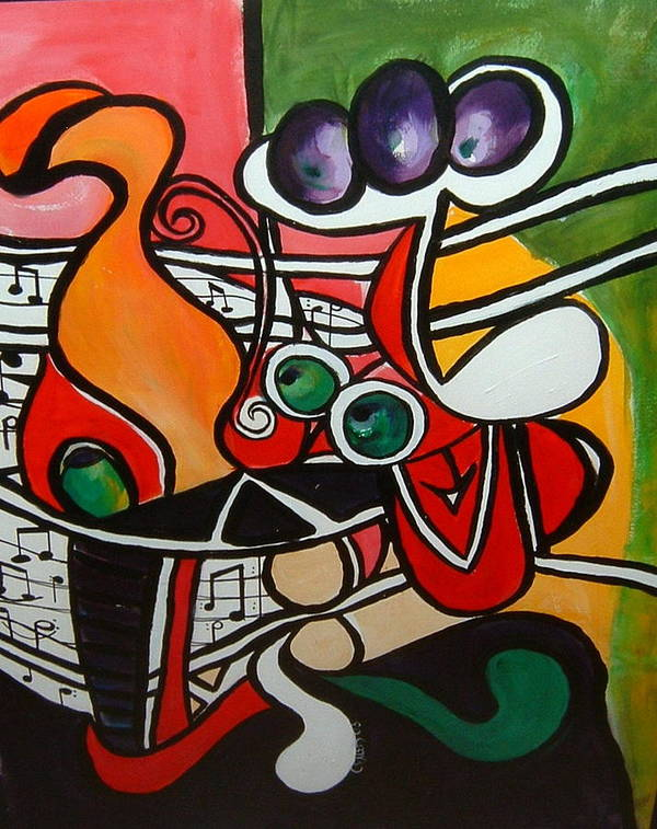 Abstract Poster featuring the painting Five O' Clock With Picasso by Cheryl Ehlers