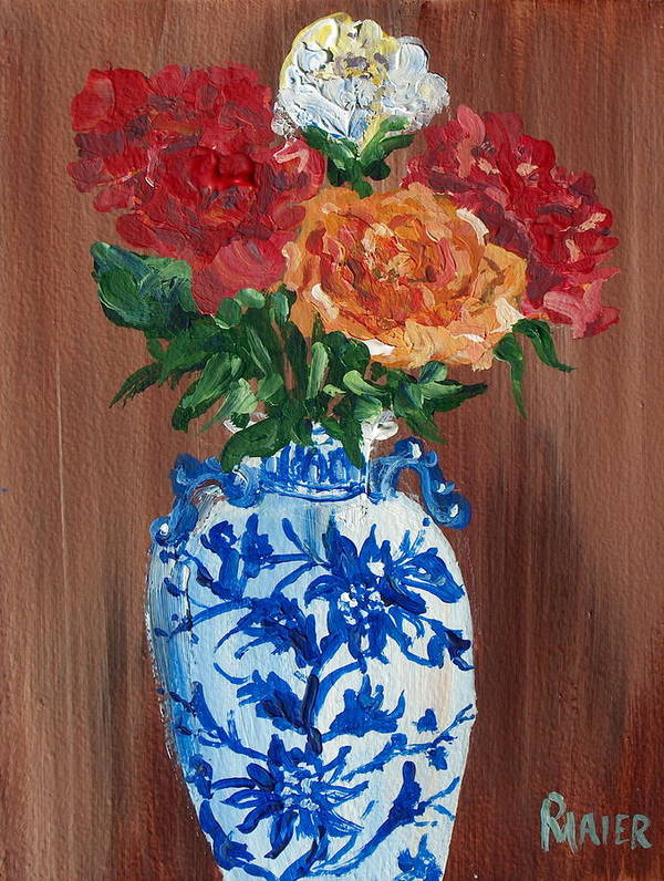Floral Poster featuring the painting Five Roses by Pete Maier