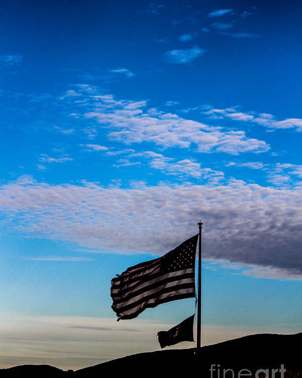 American Flag Poster featuring the photograph Flag With The Clouds by Victory Designs