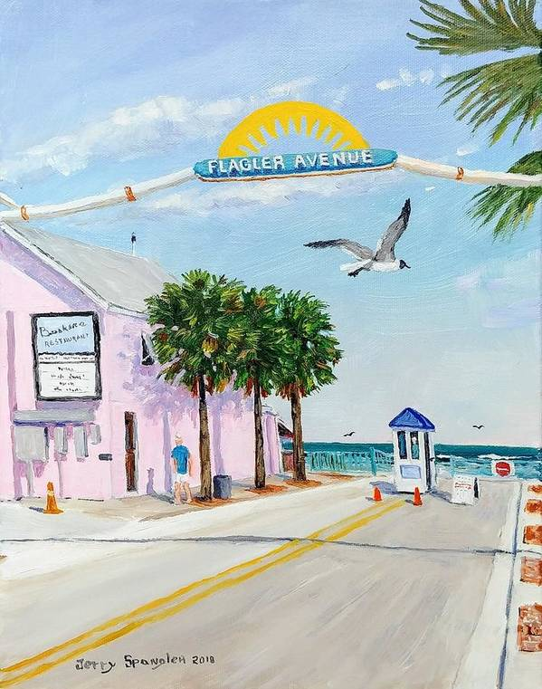 New Smyrna Beach Poster featuring the painting Flagler Avenue by Jerry SPANGLER