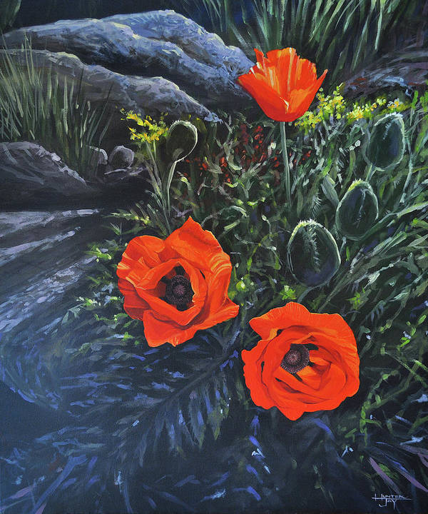 Poppy Poster featuring the painting Flame of the West by Hunter Jay