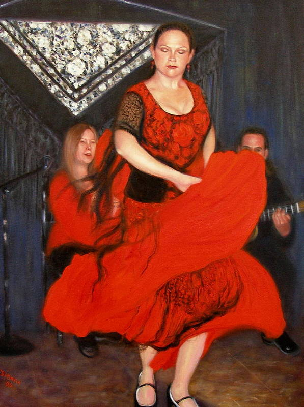 Realism Poster featuring the painting Flamenco 8 by Donelli DiMaria