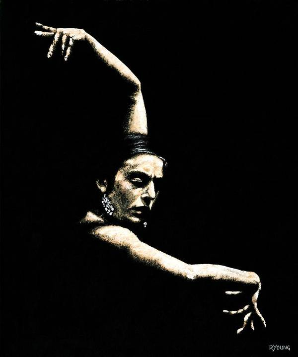 Art Poster featuring the painting Flamenco Arms by Richard Young
