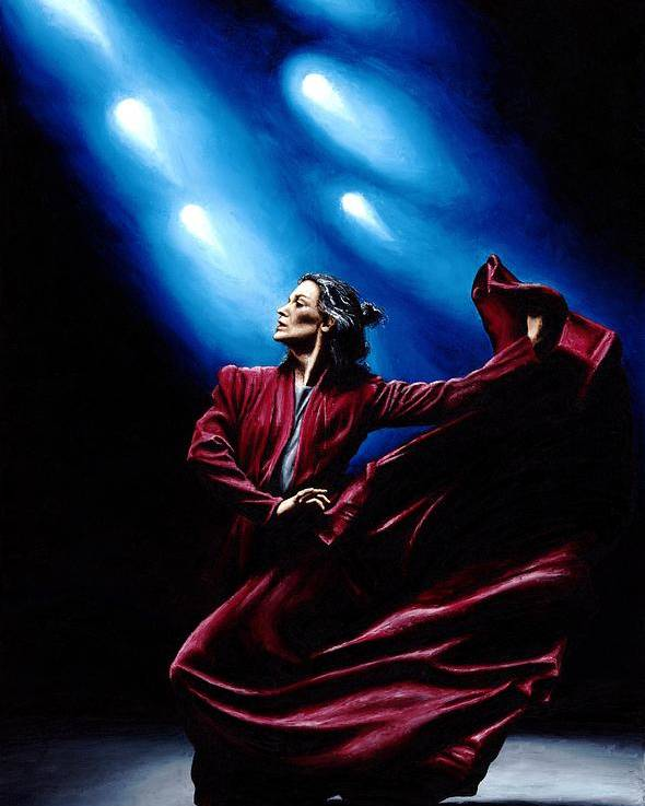 Original Oil Painting Produced On Stretched 91cm X 61cm Canvas Using A Knife Poster featuring the painting Flamenco Performance by Richard Young