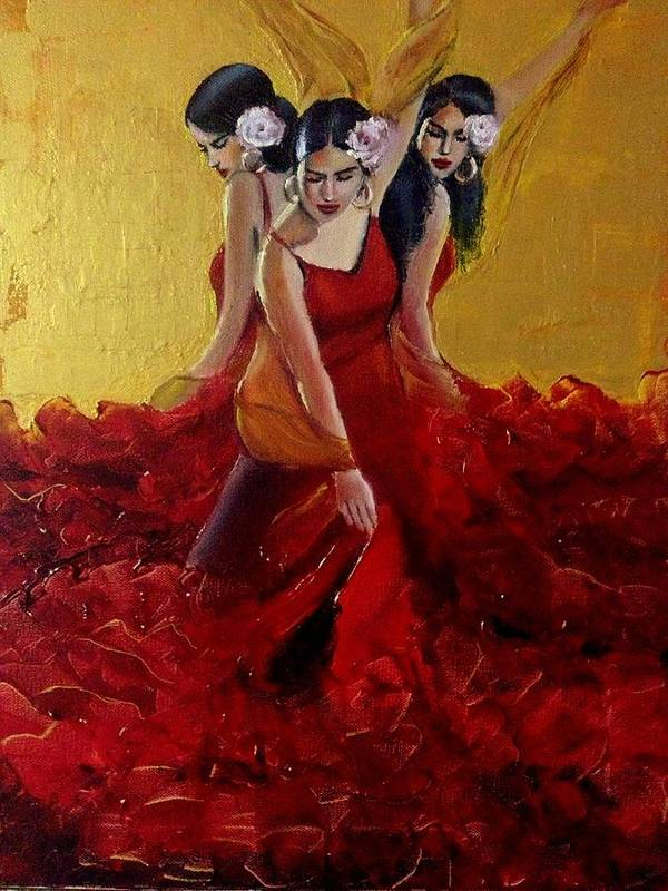 Flamenco Poster featuring the painting Flamenco by Praisey Peter
