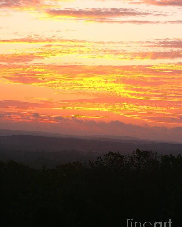 Sunrise Poster featuring the photograph Flaming Autumn Sunrise by Nadine Rippelmeyer