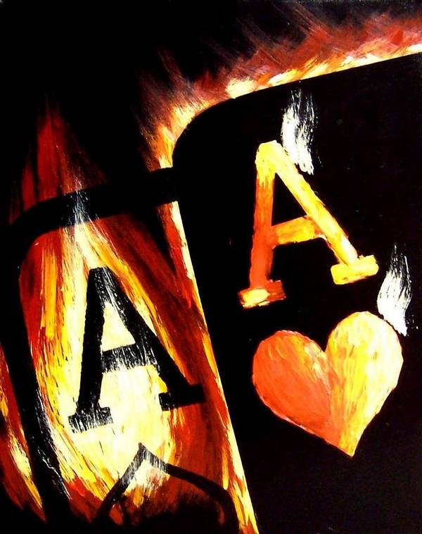 Hot Poster featuring the painting Flaming Bullets Pocket Aces Poker Art by Teo Alfonso