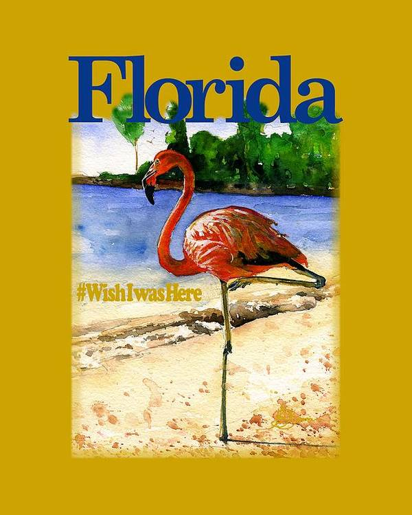 Florida Poster featuring the painting Flamingo In Florida Shirt by John D Benson