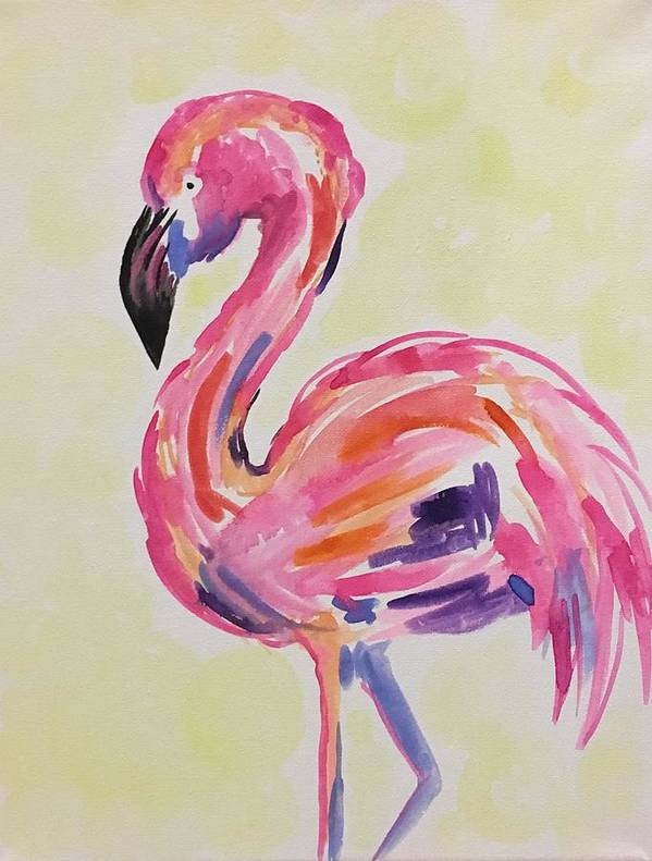 Flamingo Poster featuring the painting Flamingo by Noel Marie