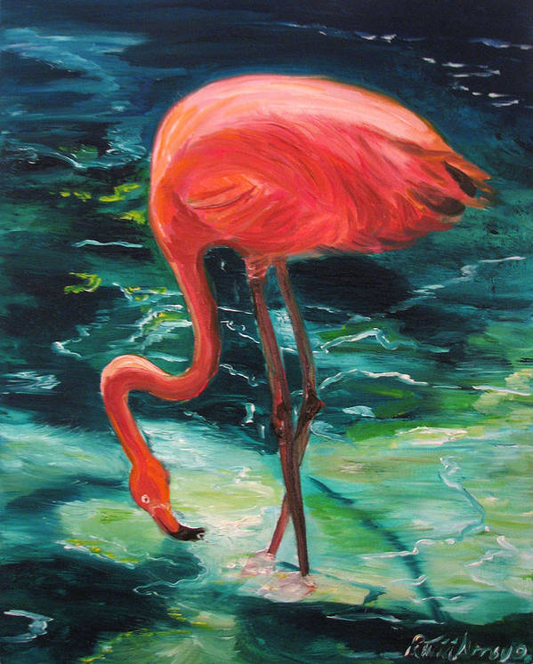 Flamingo Poster featuring the painting Flamingo Of Homasassa by Patricia Arroyo