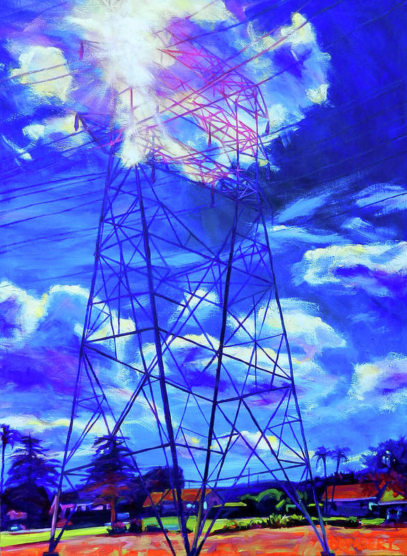 Power Tower Poster featuring the painting Flash by Bonnie Lambert