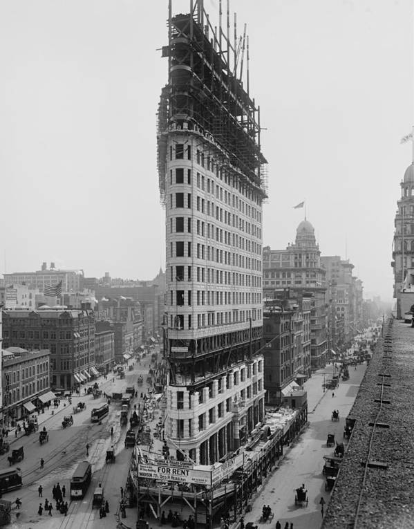 History Poster featuring the photograph Flatiron Building During Construction by Everett