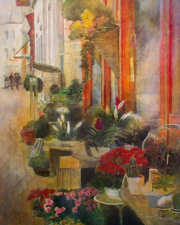 Flowers Poster featuring the painting Fleuriste by Victoria Heryet