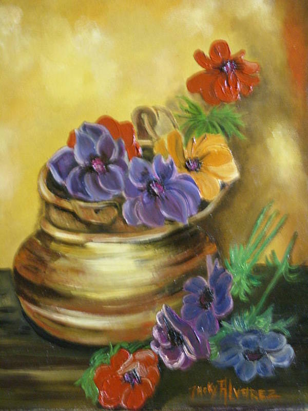 Poster featuring the painting Fleurs by ALVAREZ Jacky