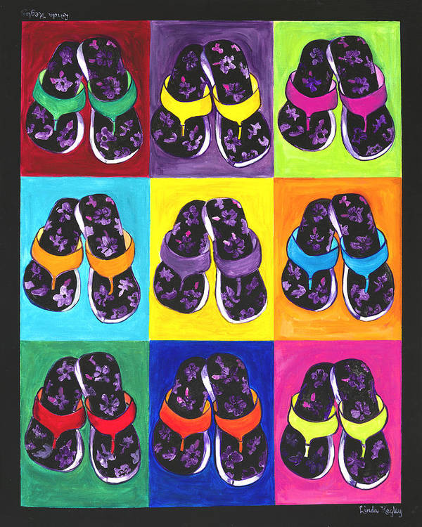 Flip Flops Poster featuring the painting Flip Flops After Andy Warhol by Linda Kegley