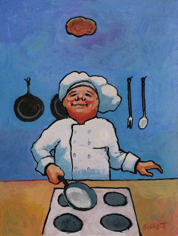 Chef Poster featuring the painting Flipping Pancakes by Robert Bissett