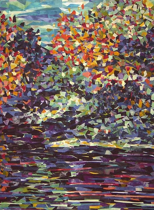 Abstract Landscape Impressionist Textile Poster featuring the painting Float On by Sally Van Driest