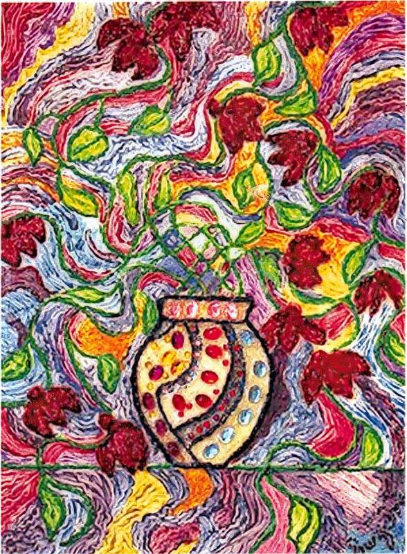 Flowers Poster featuring the painting Floowers In A Jeweled Vase by Brenda Adams