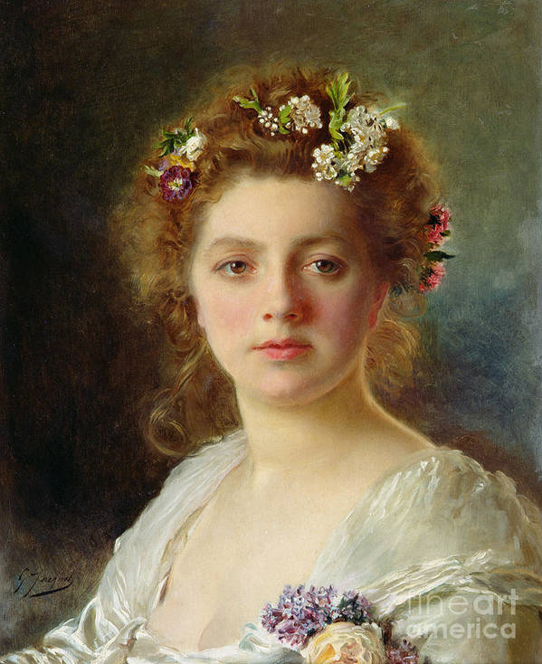 Female; Portrait; Flowers; Flower; Garland; Decollete; Beauty; Young; Rural; Tess; Hair; Regard; Staring; Woman; Gustave Jacquet Poster featuring the painting Flora by Gustave Jacquet