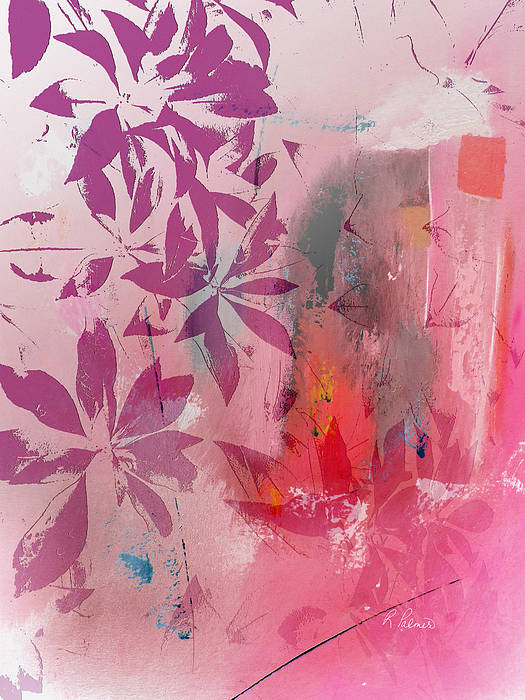 Abstract Floral Poster featuring the mixed media Floral Illusion by Ruth Palmer