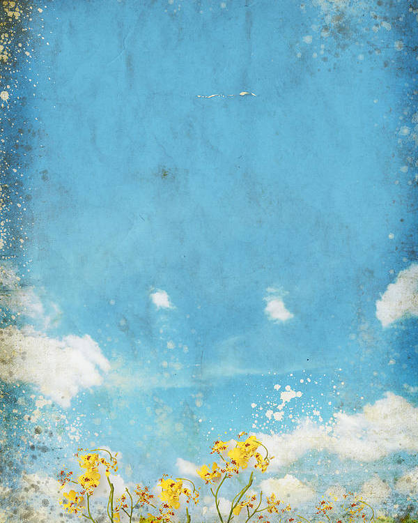 Abstract Poster featuring the painting Floral In Blue Sky And Cloud by Setsiri Silapasuwanchai