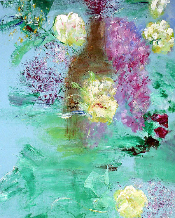 Abstract Poster featuring the painting Floral Reflections by Michela Akers