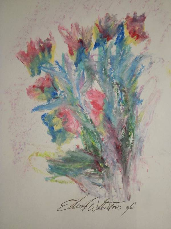 Floral Poster featuring the pastel Floral Study In Pastels B by Edward Wolverton