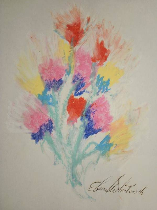 Floral Poster featuring the pastel Floral Study In Pastels Bb by Edward Wolverton