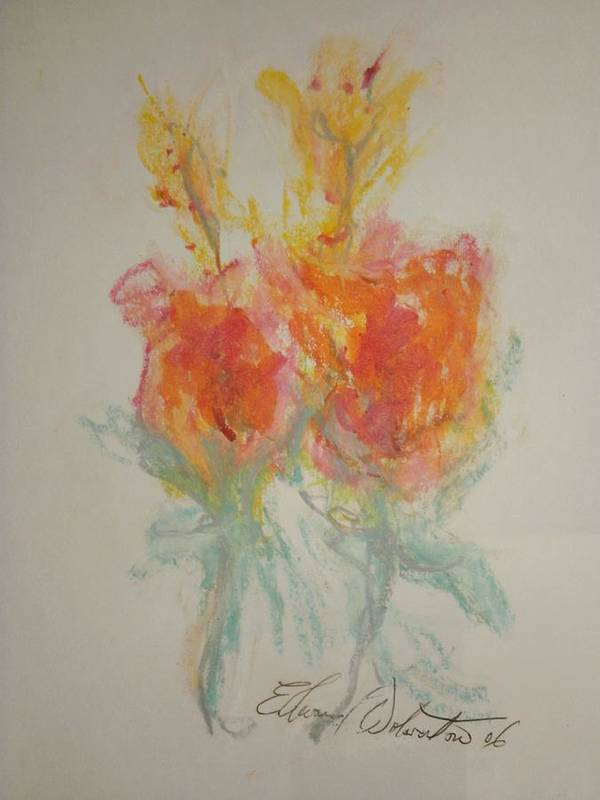 Floral Poster featuring the pastel Floral Study In Pastels O by Edward Wolverton