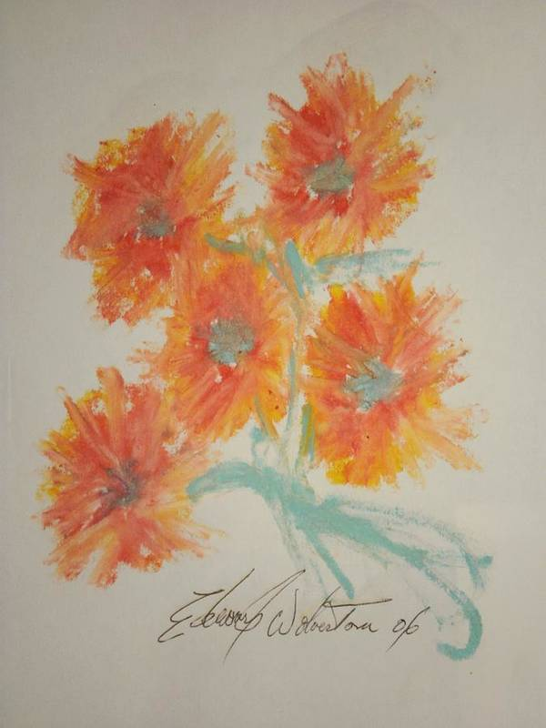 Floral Poster featuring the pastel Floral Study In Pastels U by Edward Wolverton