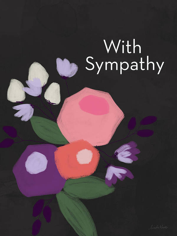 Condolence Poster featuring the mixed media Floral Sympathy Card- Art By Linda Woods by Linda Woods