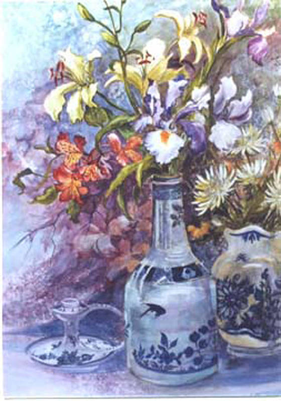 Floral;delft;blue;mauves;still Life;iris Poster featuring the painting Floral With Delft Ware by Lois Mountz