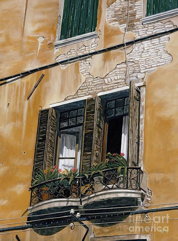 Florance Poster featuring the painting Florence Balcony by Jiji Lee