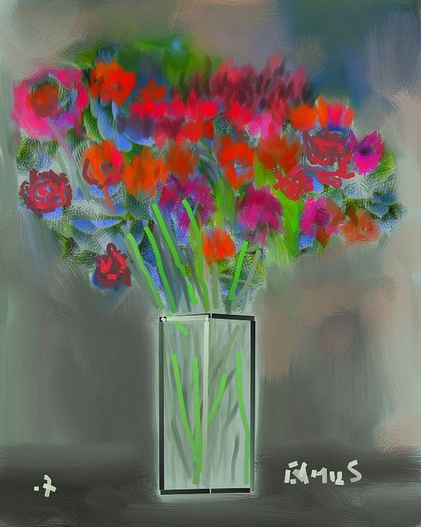 Art Poster featuring the painting Flores 1 by Carlos Camus