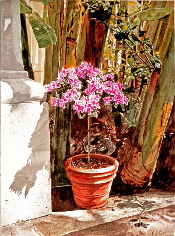 Flower Pots Poster featuring the painting Floret Nouveau by David Lloyd Glover