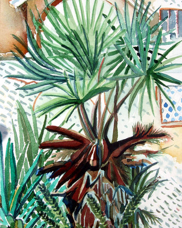 Palm Poster featuring the painting Florida Palm by Mindy Newman