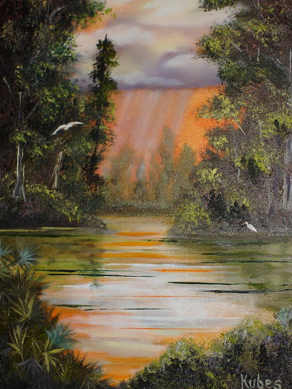 Landscape Poster featuring the painting Florida Thunderstorm by Susan Kubes
