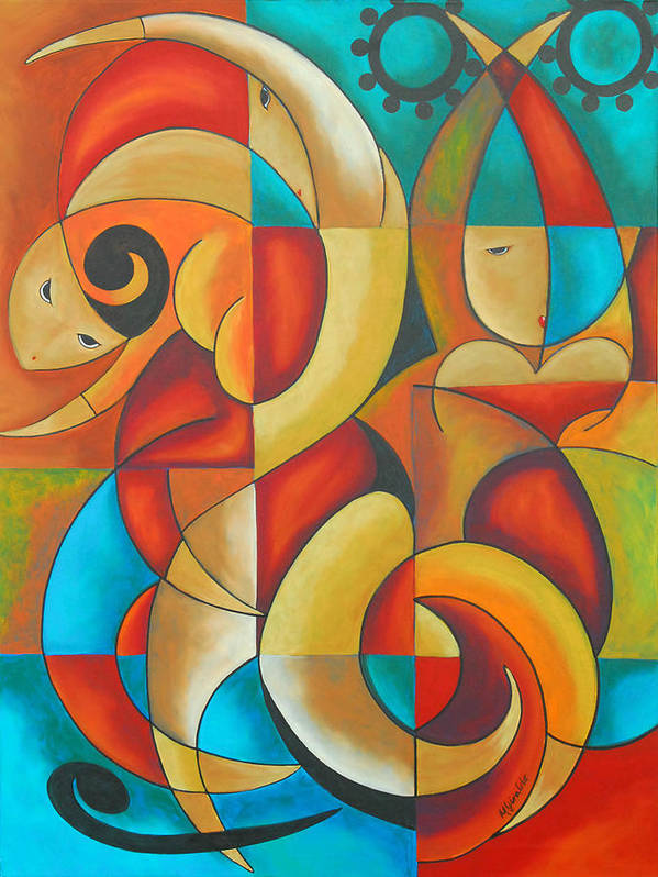 Abstract Expressionism Poster featuring the painting Floutine With Rhythm by Marta Giraldo