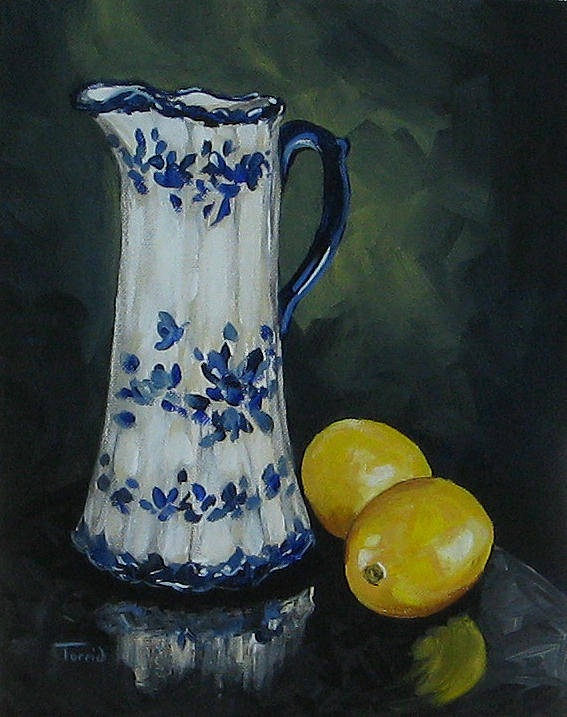 Flow Blue China Poster featuring the painting Flow Blue And Lemons by Torrie Smiley