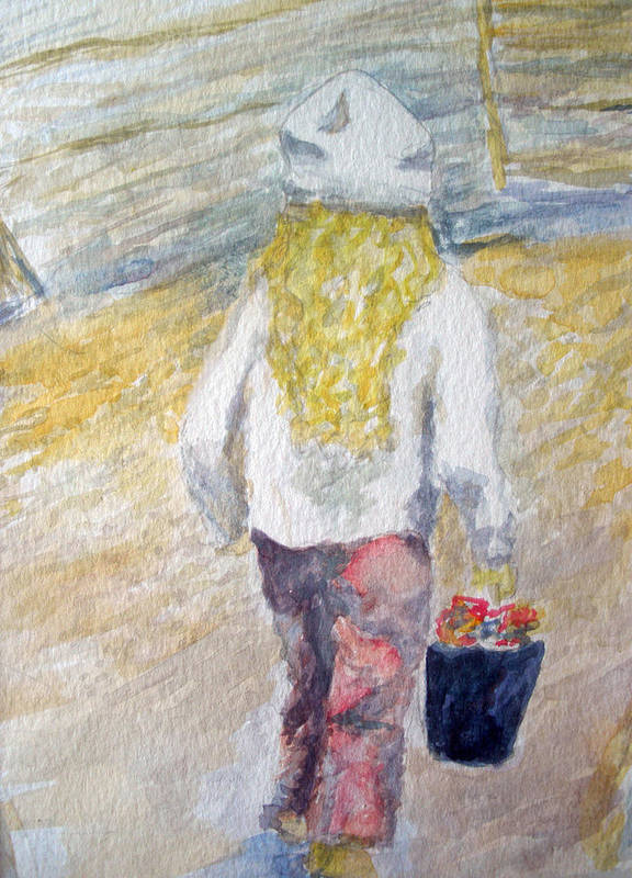 Watercolors Poster featuring the painting Flower Girl by Mike Segura